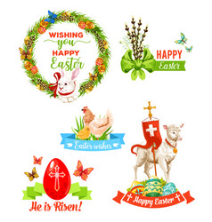 easter holiday wishes cartoon emblem set vector image