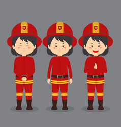 Firefighters character with various expression vector