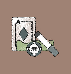 Flat shading style icon ace chip and cigar vector