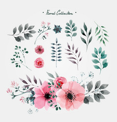 flowers and nature artistic set vector image