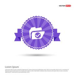 folder icon - purple ribbon banner vector image