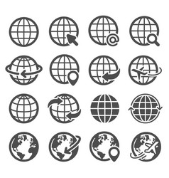 Globe icons set world earth worldwide map vector