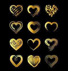 golden hearts for valentines day vector image