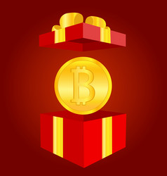 golden shiny coin with bitcoin symbol red gift vector image