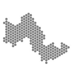 Grey hexagon tilos greek island map vector