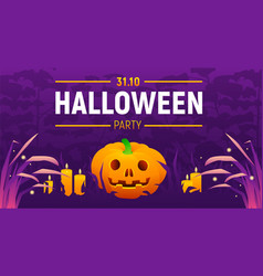 halloween party banner with spooky text vector image