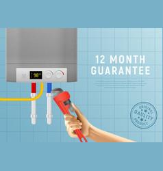 Heating boiler plumbing poster vector