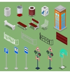 Isometric City Urban Elements vector image