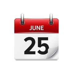June 25 flat daily calendar icon date vector