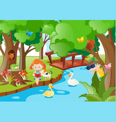kids and animals by the river vector image