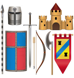 Knight armor icons set 2 vector