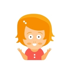 Little Red Head Girl In Red Dress Excited Smiling vector image