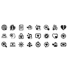 Love icons couple romantic and heart vector