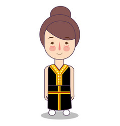 Malaysia cute traditional clothes fashion cartoon vector