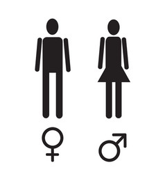 male and female figure and sex sign simple black vector image