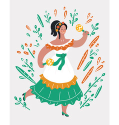 mexican lady dancer in traditional costume vector image