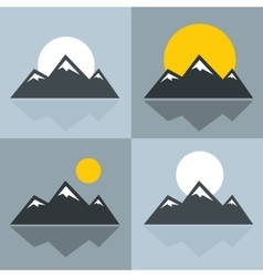 Mountain icons with sun and reflection vector image