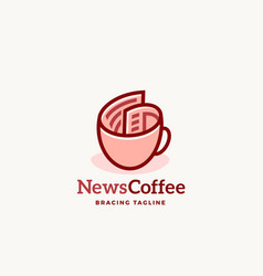 news coffee abstract sign emblem or logo vector image