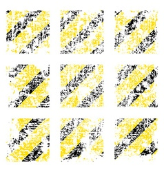 Nine old worn tattered scratch squares of yellow vector image