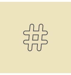 outline black hashtag icon isolated on dark yellow vector image