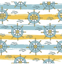 pattern with anchor and fish stripes vector image