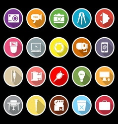 Photography related item flat icons with long vector image