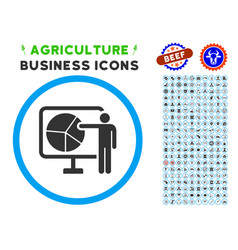 Pie chart public report rounded icon with set vector