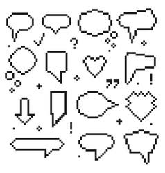 pixel art 8 bit speech bubbles black icons set vector image
