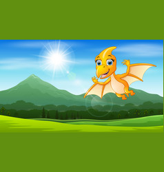 pterodactyl flying under the sun vector image