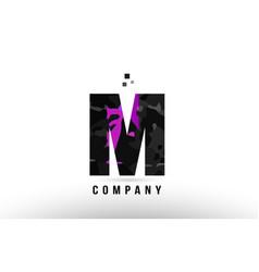 Purple black alphabet letter m logo design vector