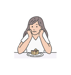sad female sitting at table propping head and vector image