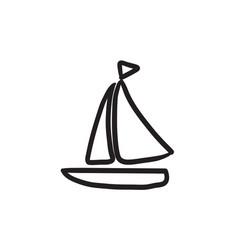 Sailboat sketch icon vector