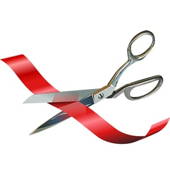 Scissors Cutting Ribbon vector image