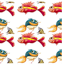 Seamless pattern tile cartoon with fish vector