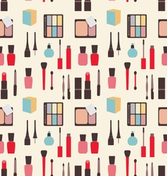Seamless Texture of Beauty and Makeup Icons vector image