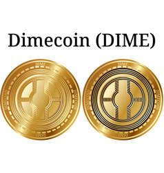 Set of physical golden coin dimecoin dime vector