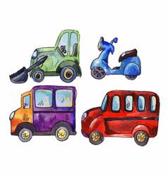set of watercolor car stickers vector image vector image