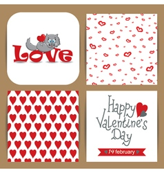 Set with cat and patterns with hearts vector