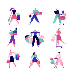 shopping people man and woman with shopping bags vector image