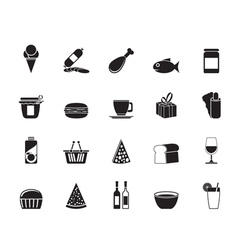 Silhouette Shop and Foods Icons vector image