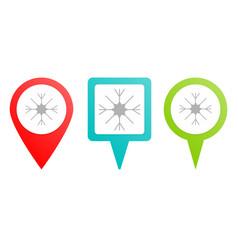 snow pin icon multicolor pin icon vector image