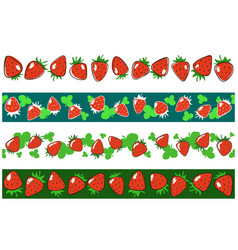 strawberry endless borders set vector image