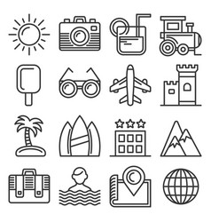 summer icons set on white background line style vector image