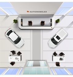 Top View Office Interior Of Automobile Salon vector image