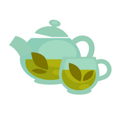 transparent tea cup and pot vector image