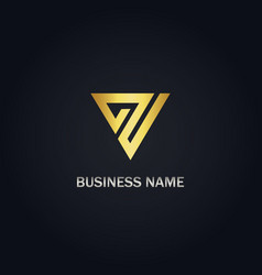 triangle shape line gold company logo vector image