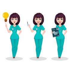 veterinarian woman set of three poses cute vector image