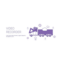 video recorder in car template web banner with vector image