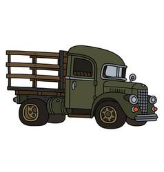 Vintage green lorry vector