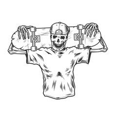 vintage monochrome skeleton skateboarder vector image